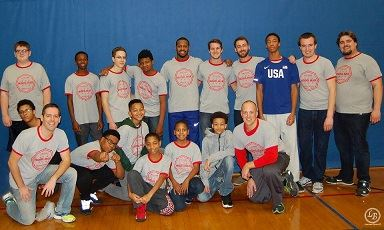 Male participants with Track Olympian Jeff Porter