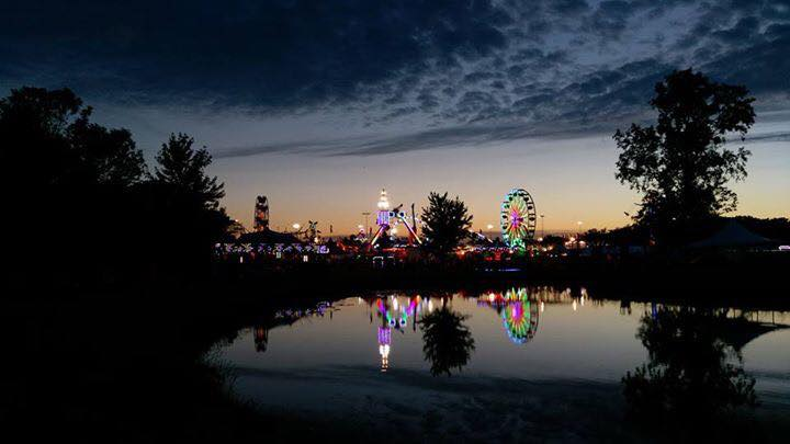 Liberty Fest scenic photo of festival lights over Heritage Pond