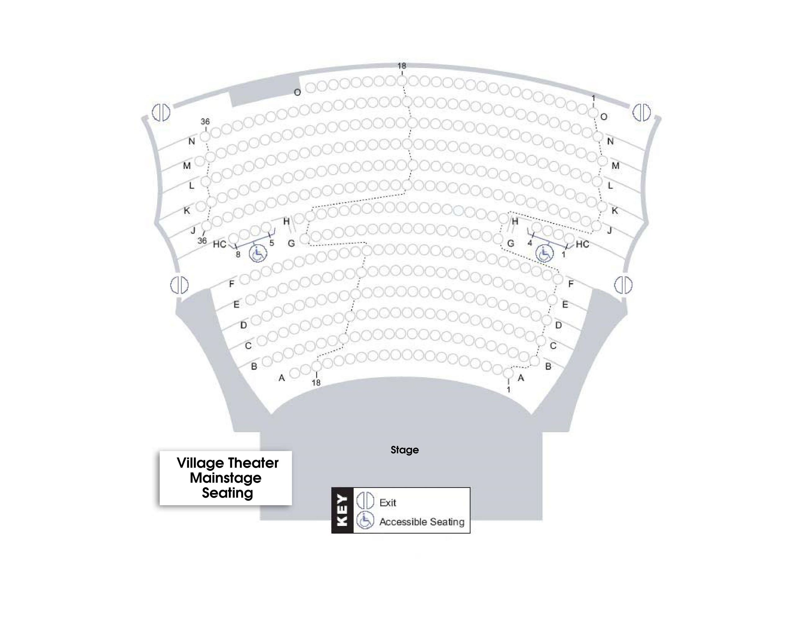 Seating Chart for Main Auditorium at The Village Theater